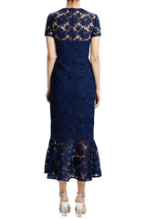 MLML navy lace midi dress with ruffled hem