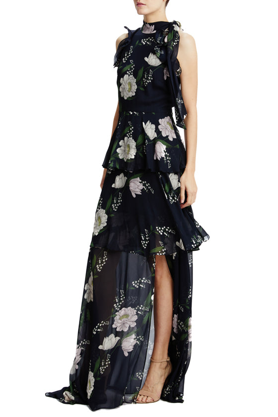 Floral Print Gown with Front Slit