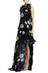 sleeveless floral print gown navy
