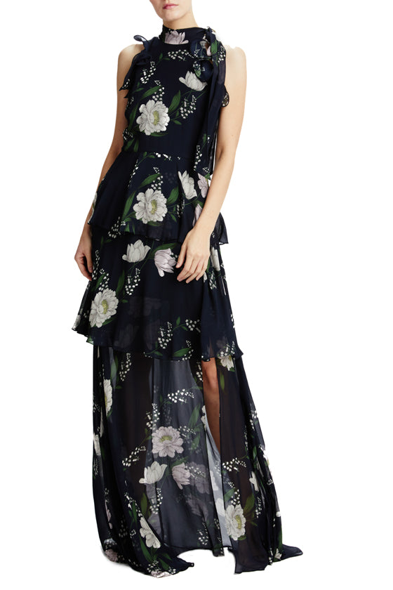 Resort 2020 navy floral gown with horsehair trim and tie neckline
