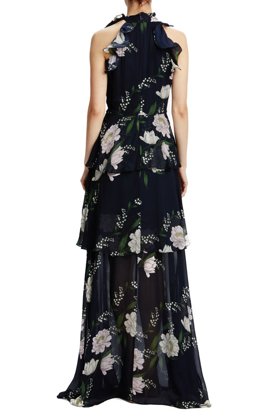 ML Monique Lhuillier navy floral print gown with side slit