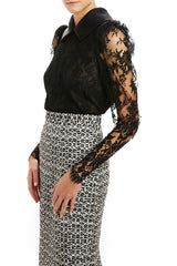 Tapered Sleeve Lace Blouse