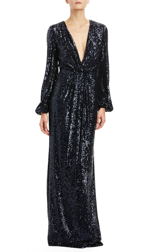 Navy Sequin Plunging V-Neck Gown