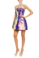 Iridescent purple strapless cocktail dress