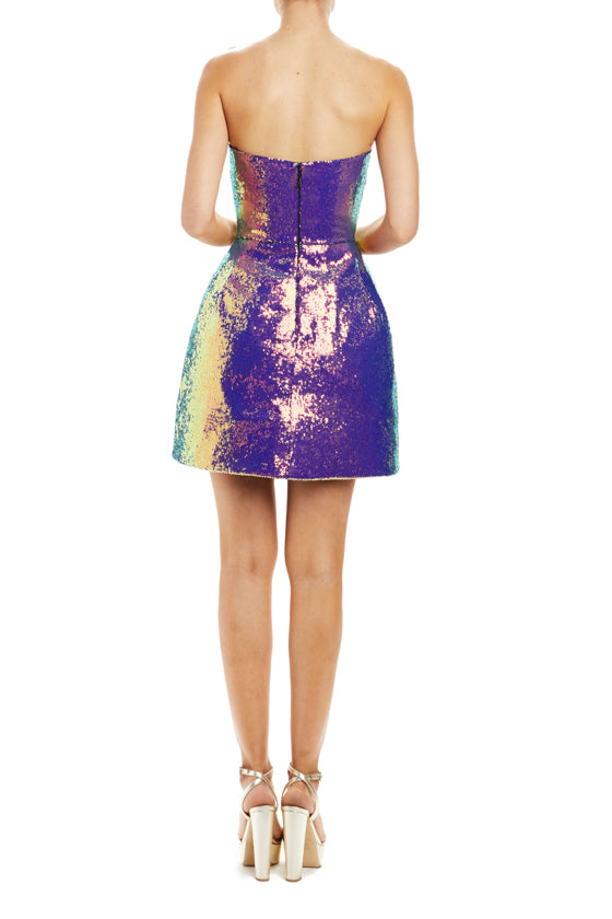 Spring 20 strapless cocktail dress with sequins and bubble skirt shape
