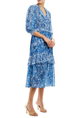 MLML 3/4 sleeve midi dress with ruffle trim blue  R20