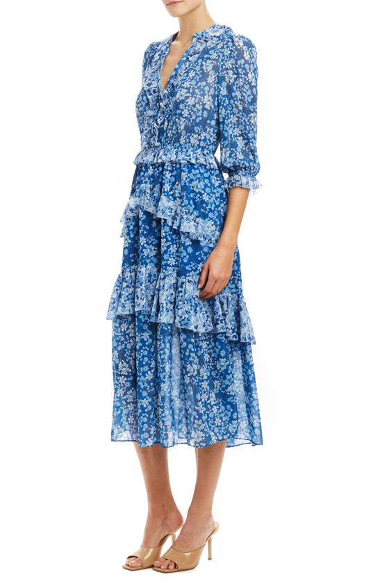 blue multi prairie dress midi cut with 3/4 sleeves MLML