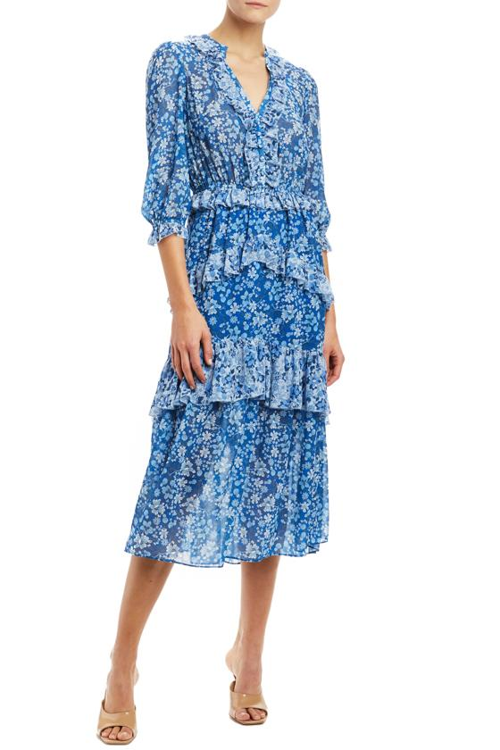 MLML 3/4 sleeve midi dress with ruffle trim blue