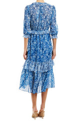MLML resort 20 blue multi prairie dress midi cut with 3/4 sleeves
