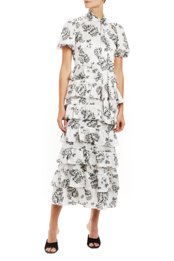 Short sleeve printed midi dress with tie neckline