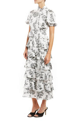 Short sleeve printed midi dress with tie neckline  MLML