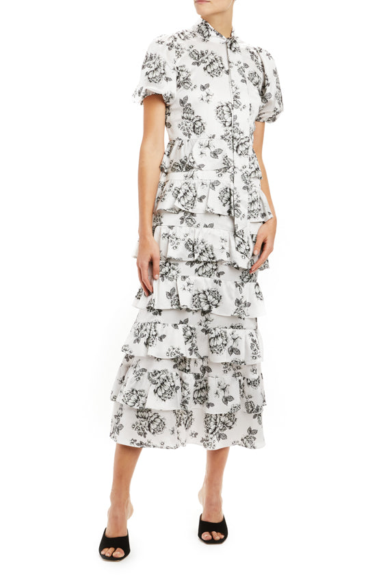 ML Monique Lhuillier black and white printed midi dress
