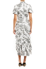 ML Monique Lhuillier black and white printed midi dress resort 2020