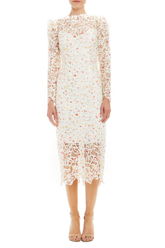 printed floral lace long sleeve dress