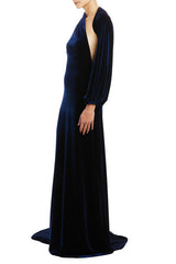 Fall 2020 Velvet gown with single sleeve