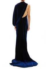 Navy velvet gown Monique Lhuillier