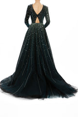 Embroidered Velour Ball Gown