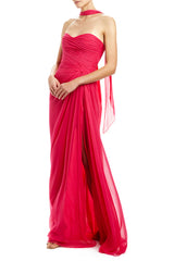 strapless draped gown with neck scarf