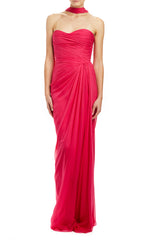 Chiffon draped evening gown with neck scarf