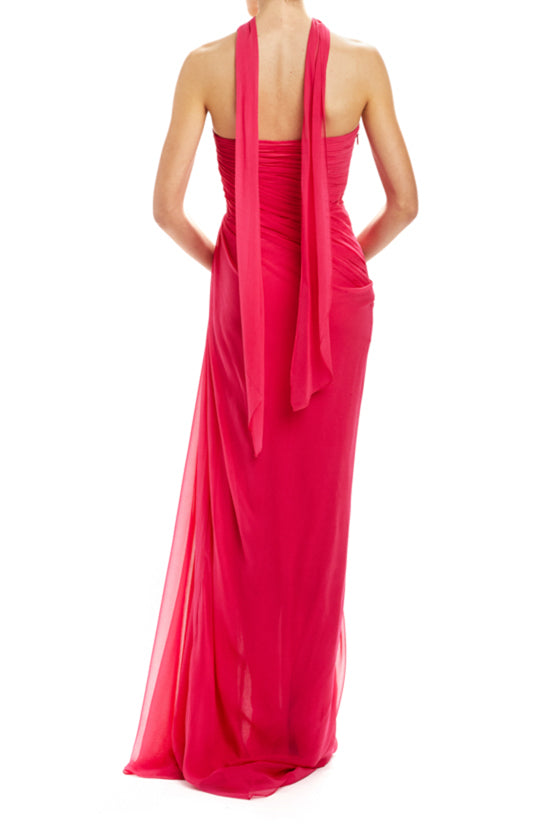 FAll 20 strapless draped gown with neck scarf