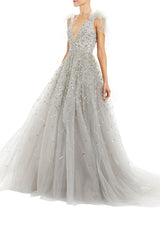 V-Neck Ball Gown With Bow Shoulder Ties