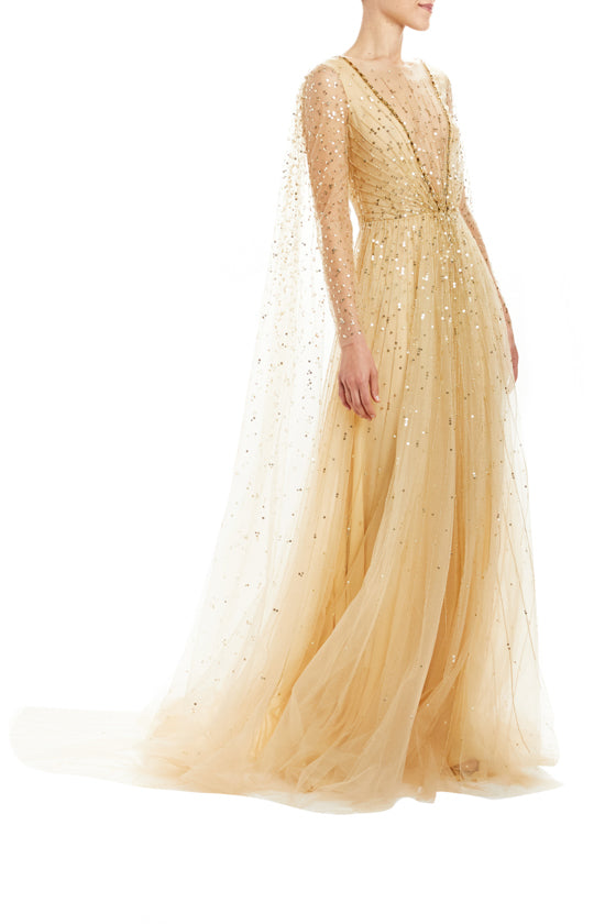 Embroidered Streamer Sleeve Gown