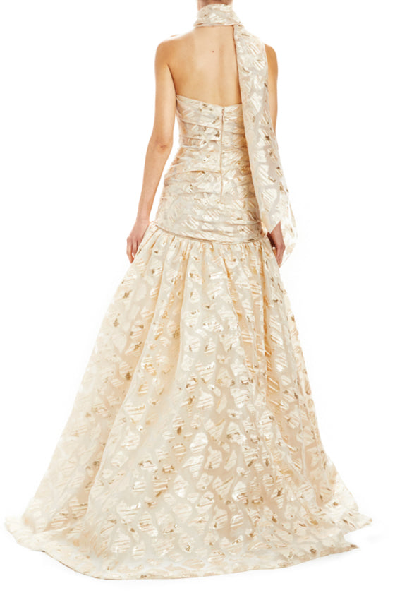 Monique Lhuillier metallic ball gown with sweetheart neckline