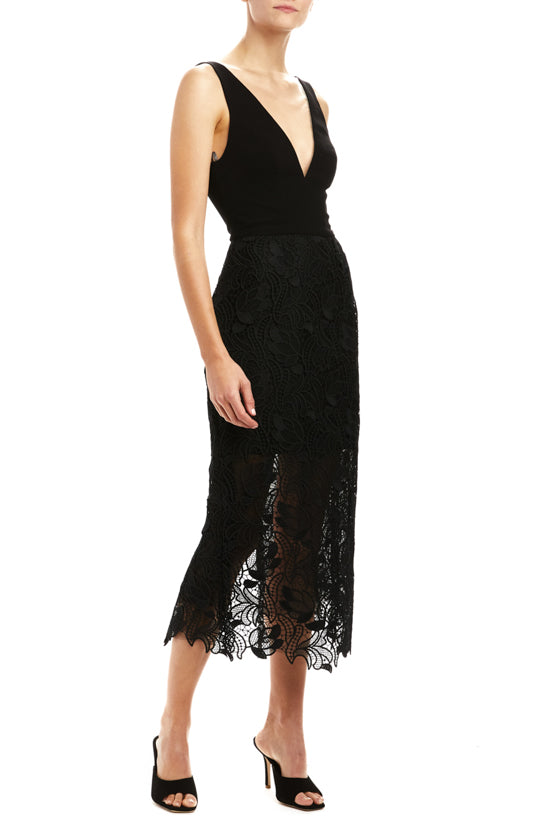 Crepe and Lace Sheath Dress