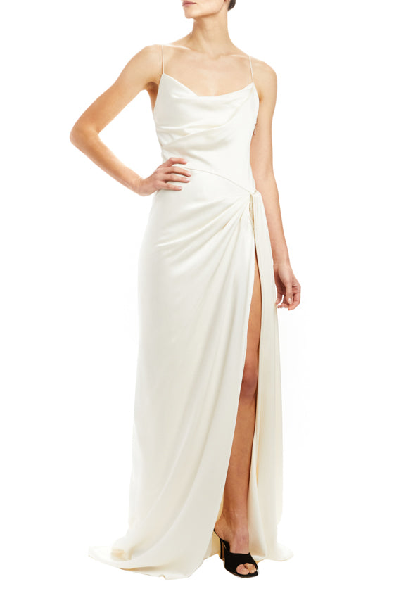 Draped Gown with Front Slit