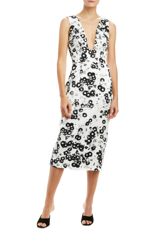 Daisy Pop V-Neck Sheath Dress