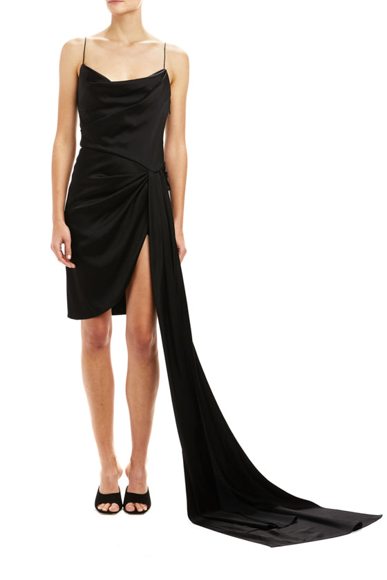 Noir Draped Mini Dress