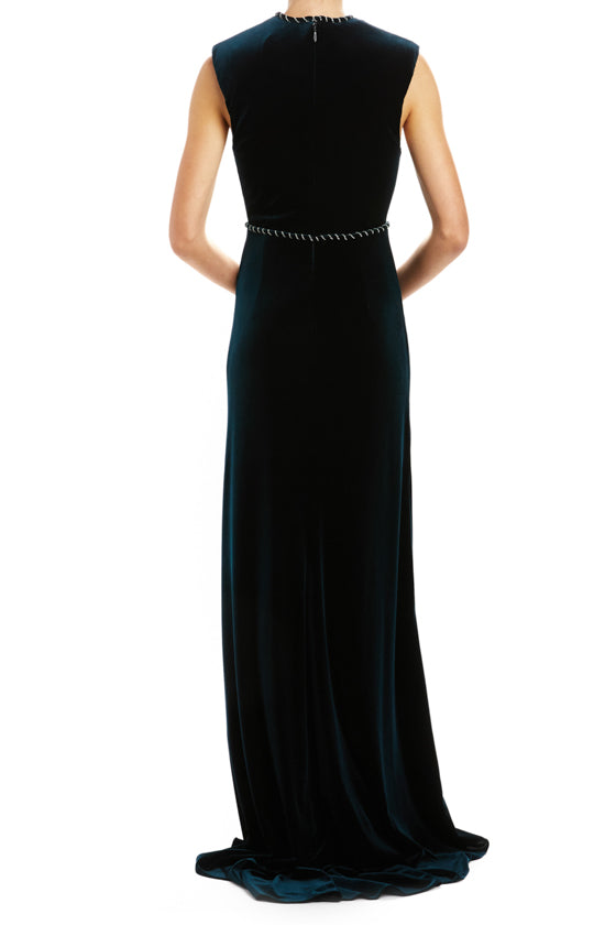V-Neck Gown with Embroidered Trim