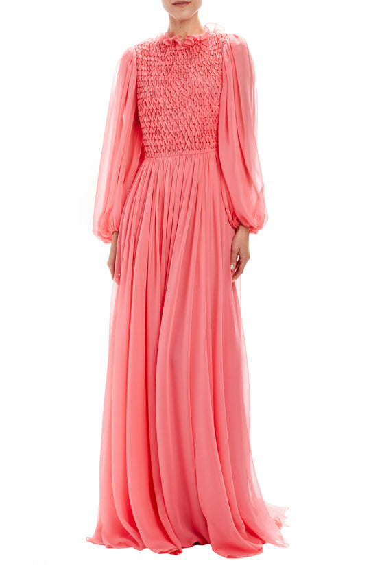 Billow Sleeve Smocked Gown