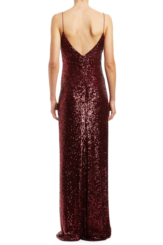 Merlot Sequin Ruched Slip Gown