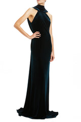 Plunging Back Draped Gown