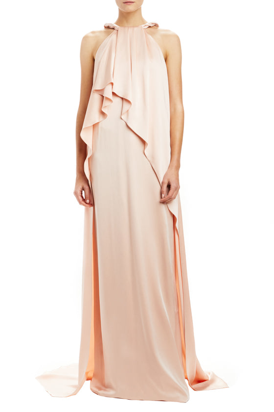 Monique Lhuillier pink evening gown