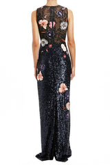 Embroidered Column Gown