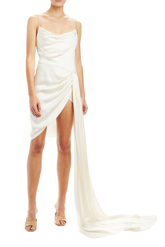 Ivory Draped Mini Dress
