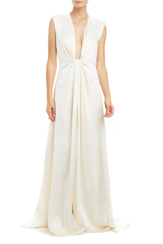 Plunging V-Neck Draped Gown