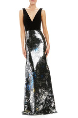 Monique Lhuillier sequin v-neck sleeveless gown