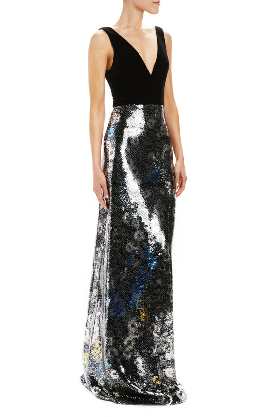Velvet and sequin v-neck gown