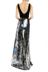 F20 Sleeveless v-neck gown Monique Lhuillier