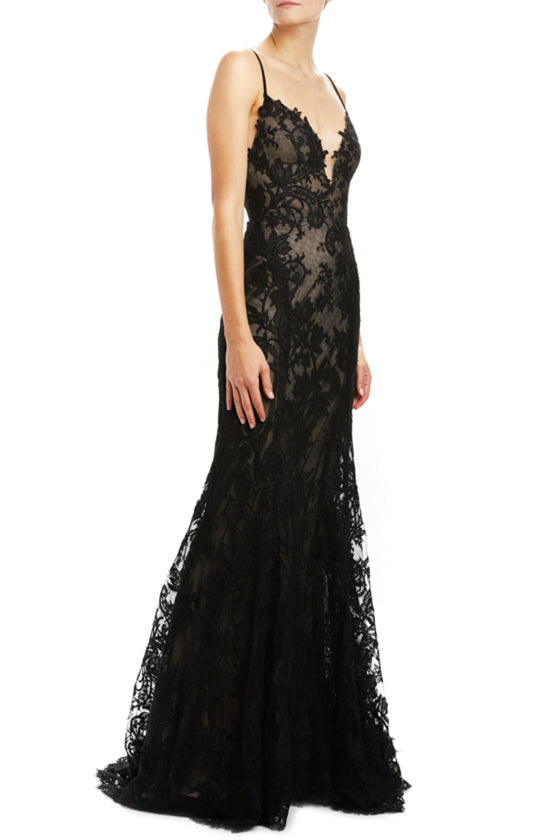 Noir re-embroidered lace lingerie sheath gown