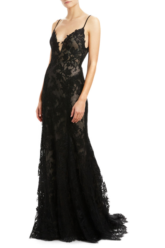 Monique Lhuillier lace sheath gown Fall 2020