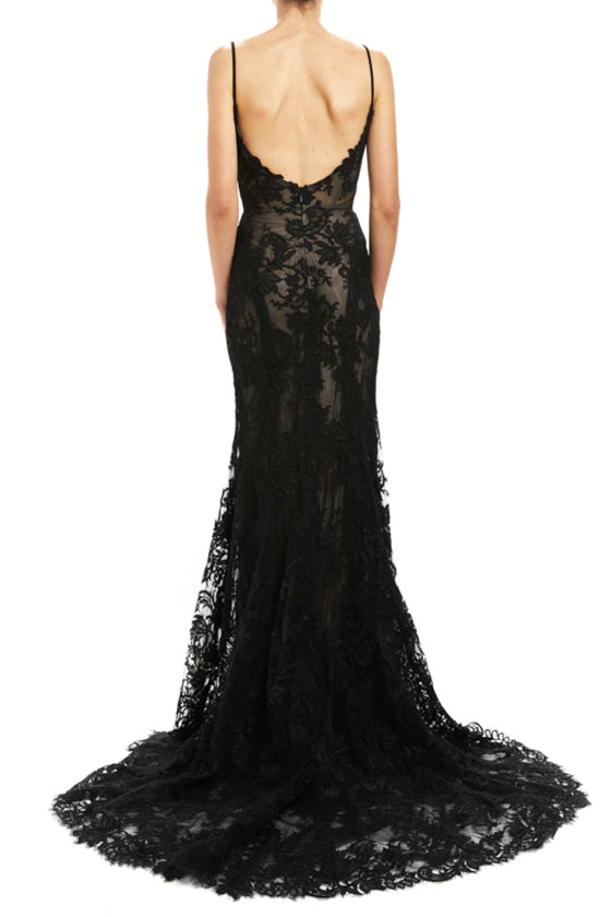 Fall 20 Black lace evening gown