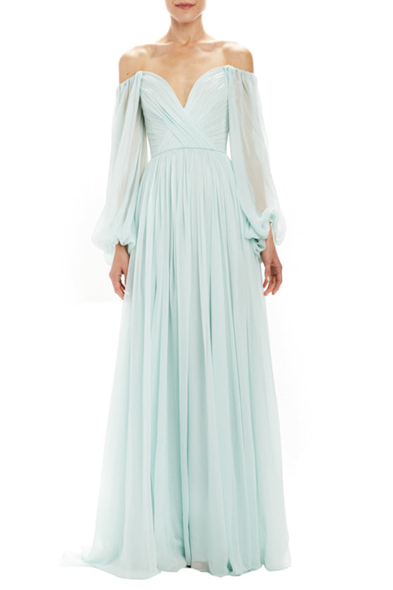 Monique Lhuillier chiffon evening gown
