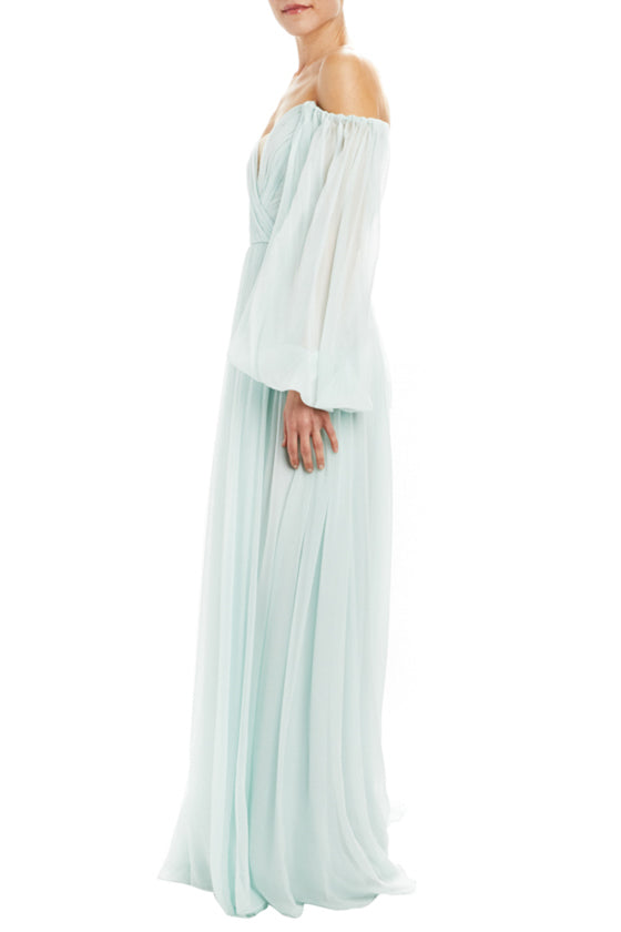 Mint off the shoulder evening gown