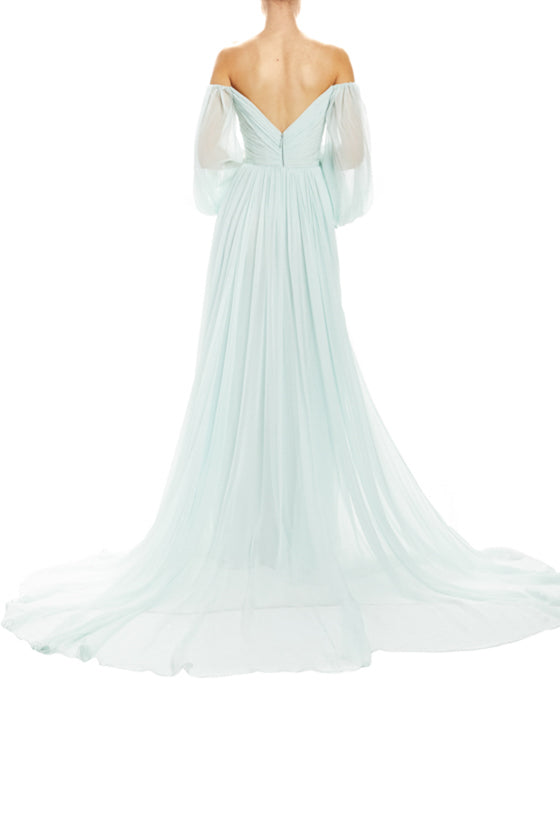 Fall 2020 off the shoulder gown mint