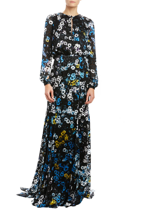 Monique Lhuillier floral long sleeve gown