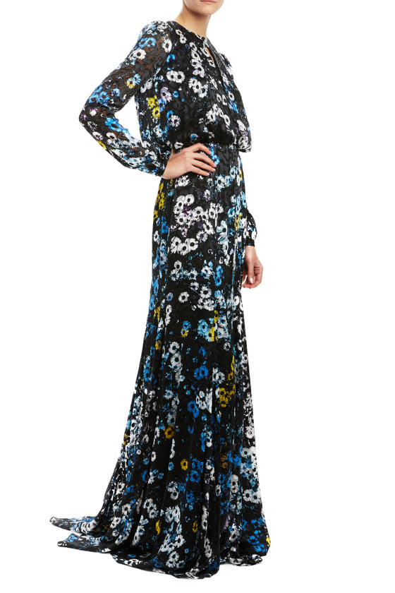 Long sleeve blouson gown with keyhole neckline